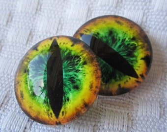 Glass dragon eyes for jewelry and beading- craft supplies- 20mm cabochons