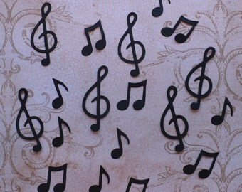 Sizzix Shapes Music Notes / Treble Clef  Shapes / Die Cuts - Cardstock Black for Cards DIY crafts Band Scrapbook etc.