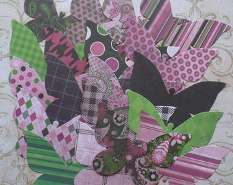 Prints Pink Green Butterfly / Butterflies - Sizzix Die Cut pcs from Print cardstock paper 4 Wall Murile Crafts Photo Shoots