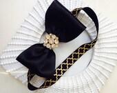Black Bow  Black and Gold Satin Headband, Baby Hair Bows, Toddler Headband, Newborn Headband