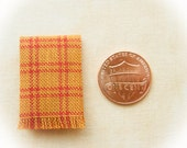 Miniature woven kitchen towel - gold and orange plaid, 1:12 scale, Fall miniatures