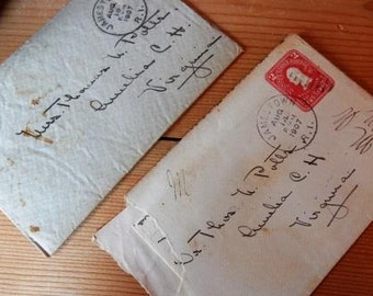 Set of Three Vintage Letters with Envelopes and Stamps from 1907