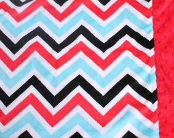 Travel Pillowcase - Turquoise, Black, Red Chevron Print Minky with Red Dimple Dot Minky Border - great for a Toddler or Travel Pillow