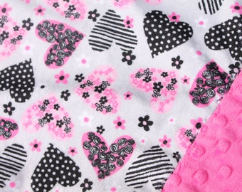 Travel Pillowcase - Hot Pink, Grey, and Black Hearts Print Minky with Hot Pink Dimple Dot Minky Border - great for a Toddler, Travel Pillow