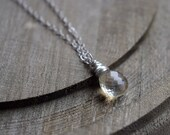 Lemon Quartz Pendant Necklace, Sterling Silver, Wire Wrapped Gemstone Solitaire