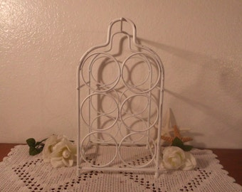 White Wine Rack Shabby Chic Rustic Distressed Beach Cottage French Country Farmhouse Romantic Southern Home Decor Gift For Her