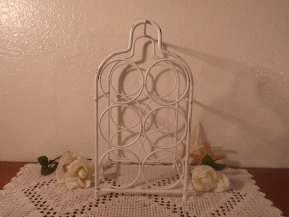White Wine Rack Shabby Chic Rustic Distressed Beach Cottage