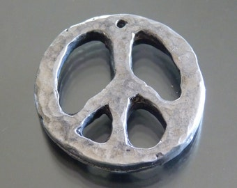 pewter peace symbol pendant handmade by fireforgedstudio