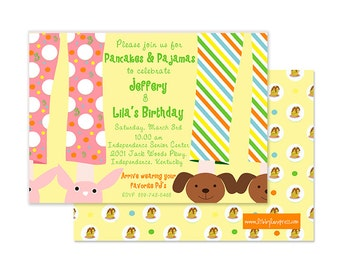 TWINS PANCAKES & PAJAMAS Invitation,  Custom Printable (Gender Neutral Party, Boy and Girl Twin Party, Sleepover Party)