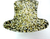 Cute 70s Glam Rock Top Hat Brooch (Gold and Silver)
