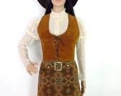 HUZZAR DESIGN Medallion Tapestry Mini Skirt With Buckle Detail XXS