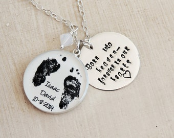 Mother's Necklace - Baby Footprint Necklace - Born Into Heaven Forever In Our Hearts - Angel Baby - Infant Loss - Stillborn - Miscarriage