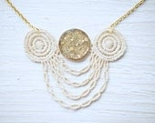 Gold Glitter and Ivory Lace Statement Necklace