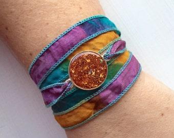 Silk Wrap Bracelet with Orange Glitter Resin Charm