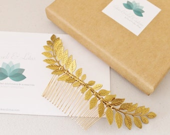 Grecian Gold tone brass laurel leaf hair comb