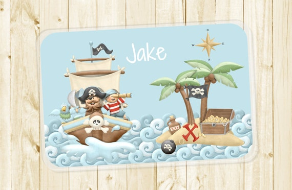 Kids Personalized Placemat - Pirate Ship and Treasure at Sea Laminated Placemat for Boys