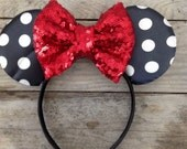 Black and White Minnie Headband and Red Sparkle Bow Baby's First Birthday Photography Prop Baby Girl 1st Birthday Headband Sequin Bows