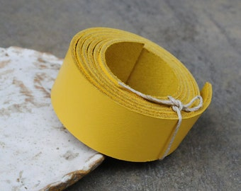1 Yard (900 X 25mm)- Yellow Cowhide Lace Strap, Genuine Leather Strap