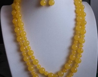 jade necklace -50inch 8-12mm yellow jade necklace & earring set free shipping