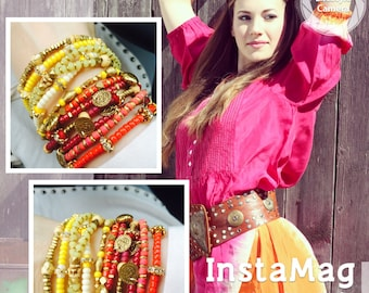Gypsy Tribal Bangle Bracelet Boho in Yellow or Red and Gold
