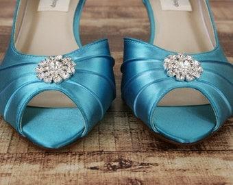 Tornado Blue Wedding Shoes, Blue Wedding Shoes, Wedding Shoes Low Heel, Kitten Heel Wedding Shoes, Budget Wedding, Something Blue Shoes