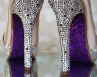 Custom Wedding Shoes - Champagne Platform Peep Toe Wedding Shoes with Silver Crystal Covered Heel and Purple Glittered Sole