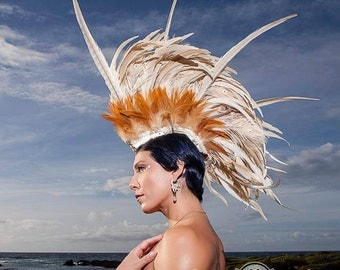 Aliikai - Customizable Feather Mohawk Headdress