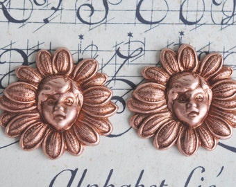 Fairies and Daisies, Brass Stampings, TWO, Rose Ox