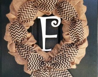 Burlap Wreath with Black Chevron Burlap Bow and Monogram- Front Door Wreath-Wedding Decoration- Wedding Gift-