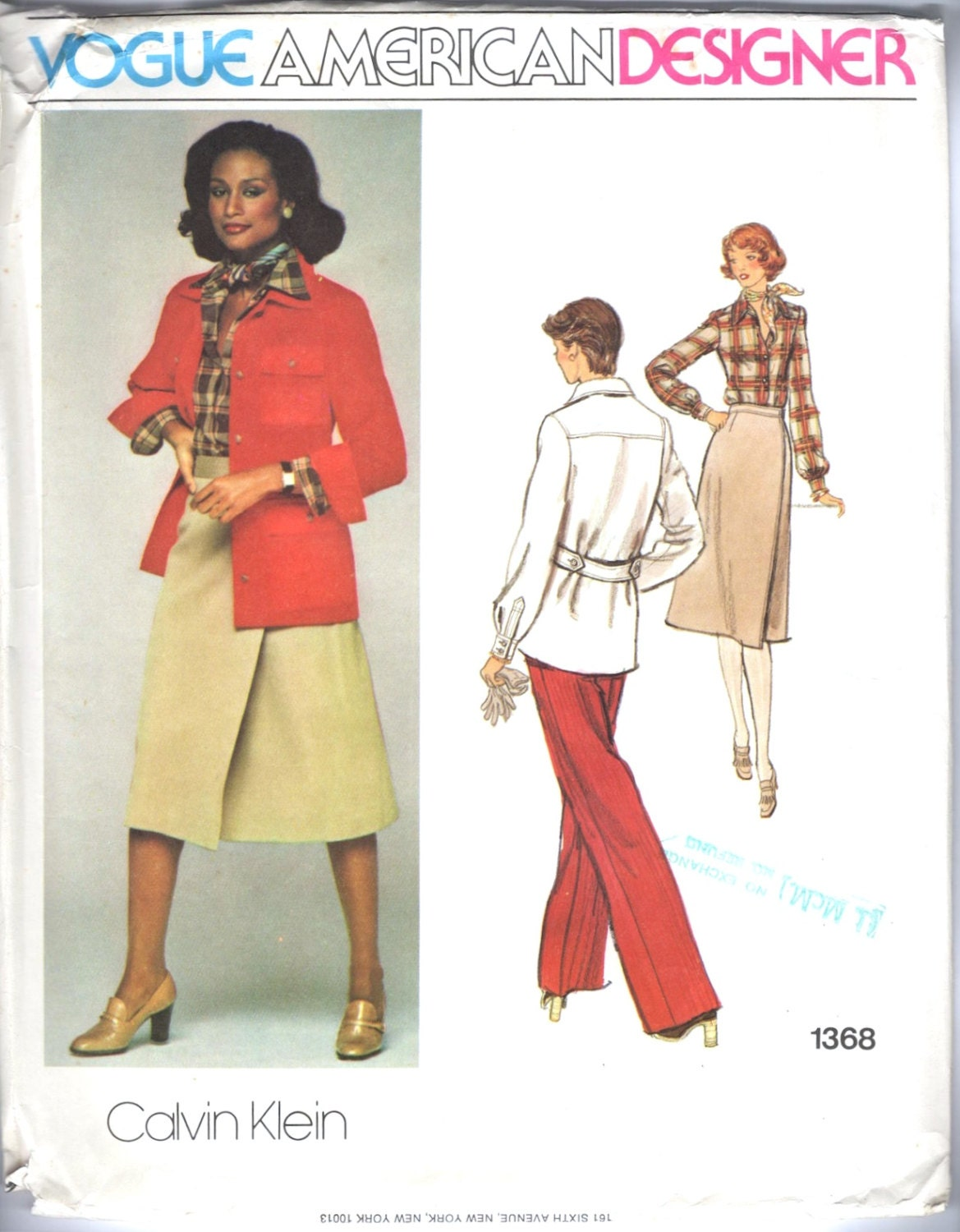 1970s Calvin Klein pattern featuring model Beverly Johnson, Vogue 1368