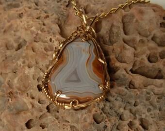 Hills Fairburn Blue Agate Pendant // 14KGF Wire Wrapped Gemstone Jewelry // South Dakota Agate