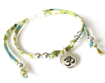 Spring green Yoga bracelet, Om charm with Liberty fabric, size adjustable bracelet, meaningful gift for daughter, UK jewellery gift