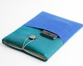 Macbook Air 11 inch case, Macbook 11 inch teal sleeve, Macbook with pocket, minimal, modern,colorful, with pocket