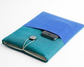 Macbook Air 11 inch case, Macbook 11 inch teal sleeve, Macbook with pocket, minimal, modern,colorful, with pocket