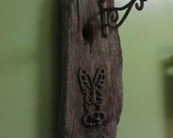 Original Driftwood Hanger With Iron Ornament Pot Hook Garden Art FDlag Display
