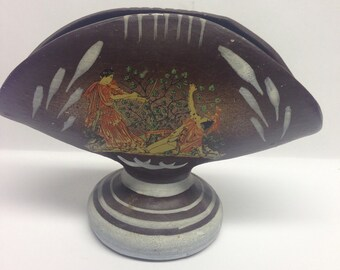 Napkin Holder, Brown Napkin Holder, Greek Mythological, Women Folk Art Signed Handmade Vintage