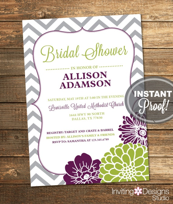 Bridal Shower Invitation, Chevron, Floral, Purple, Green, Eggplant Purple, Lime, Grey, Vertical, Printable (Custom Order, INSTANT DOWNLOAD)