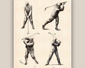 Golf art, Golfer prints, golf decor, golfing gift, decorative arts, golfer gift, golfing, golf club decor, retro golf poster, poster  8x10