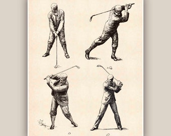 Golf art, Golfer prints, golf decor, decorative arts, golfer gift, golfing, golf club decor, retro golf poster 11x14