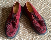 RESERVED FOR RH - 90's rare Underground burgundy suede creepers England size eu 39 us 8.5 uk 5