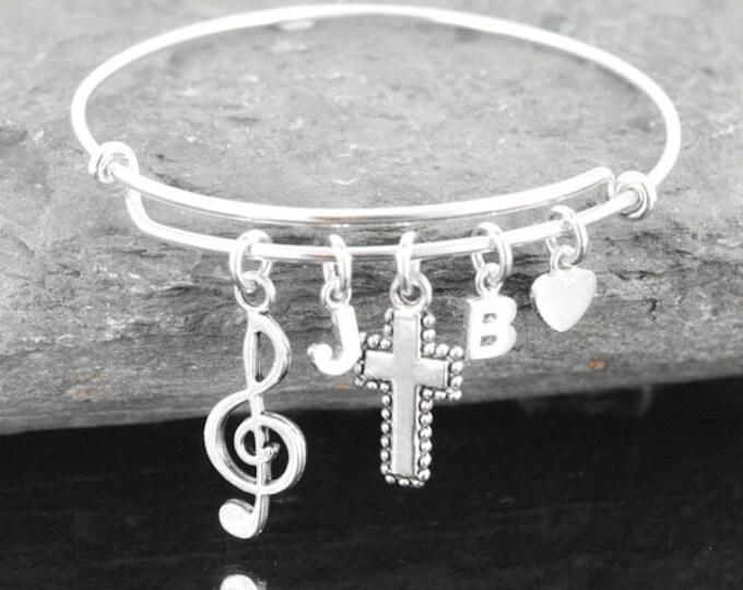 Personliazed Bangle, Heart Bangle, Sterling Silver Bangle, Adjustable Bangle, Heart Bangle, Double Heart Jewelry, Bracelet