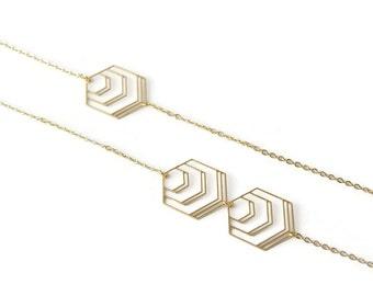 Sautoir Hexagone doré à l'or fin