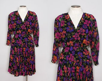 Vintage 1980s Colorful Floral Dress / Deep V Dress / Size Medium Large