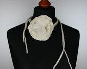 Ivory white felted Bridal wool Silk Flower - Bridal hair flower - Wedding Head Piece Necklace, Belt, Bracelet and hair accessory