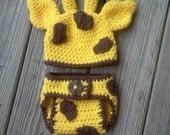 Crochet Giraffe Hat and Diaper Cover Set  0-3 Months/Newborn Photography Prop