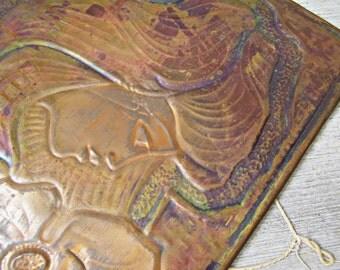 Vintage Copper Repousse, Feminine Copper Art, Vintage Soviet Wall Decor, Retro Folk Wall Art, Metal Women Portrait, Plaque Relief Picture