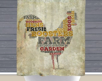Rooster Shower Curtain: Rustic Farmhouse Typography Americana   12 Eyelet/Button Hole   Size and Pricing via Dropdown