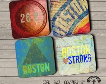 Boston Coaster Set: Marathon Fenway 26.2 Boston Strong Cork Back Home Accessories