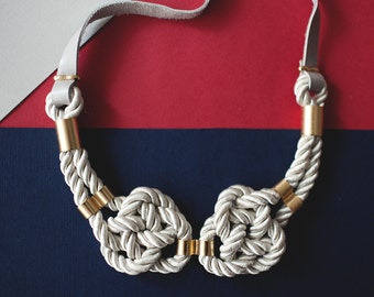 White Nautical Knot  Rope Necklace with leather cord and metal tube by pardes