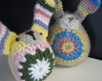 SunBurst Bunny Rabbit Amigurumi Crochet with Real Angora Bunny Face and Tail
